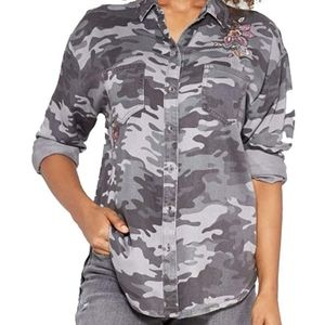 Knox Rose | Embroidered Camo Button Down Shirt